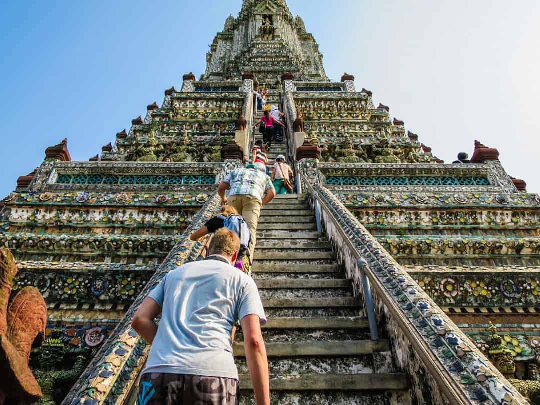 climbing Wat Arun