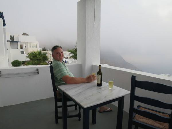 A relaxing wine at Volcano View Hotel Santorini