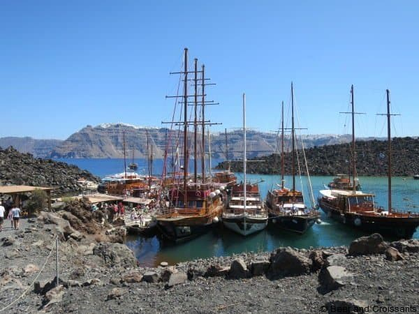 Boats moored in the harbour at volcano Volcanoes and Thermal Springs of Santorini