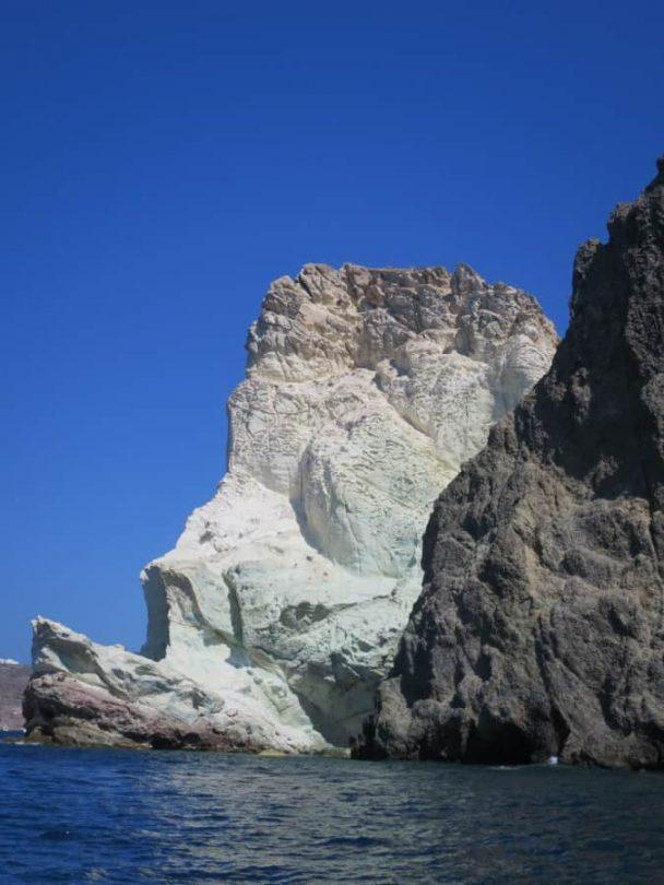 The rocks of White Beach best beaches on Santorini