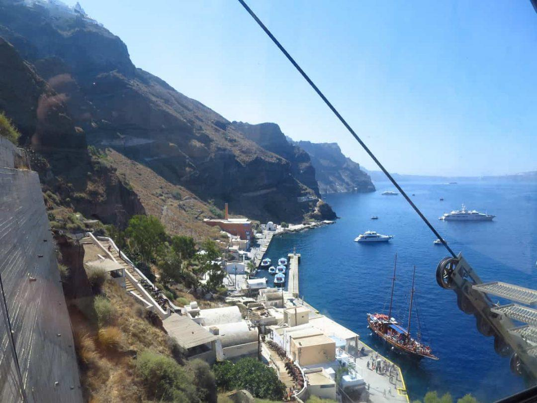 Amazing views over the Santorini caldera from the cable car