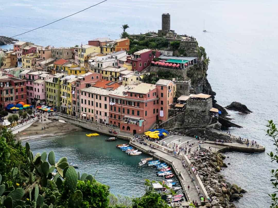 Vernazza and it's harbour from up on the trail