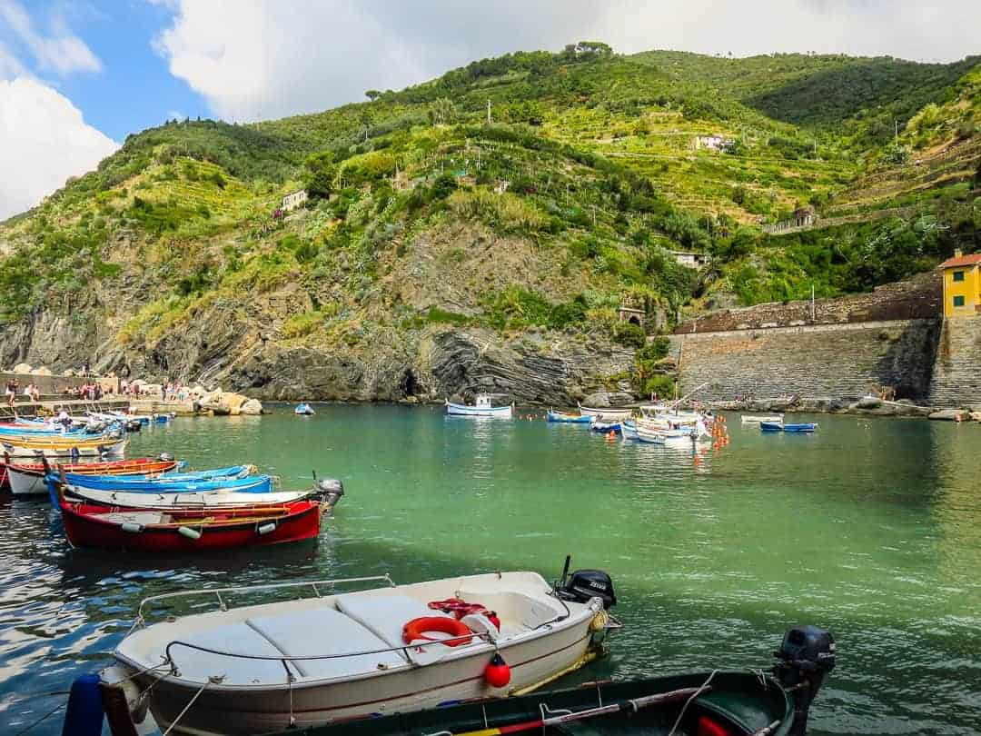 The working fishing boats at Vernazza