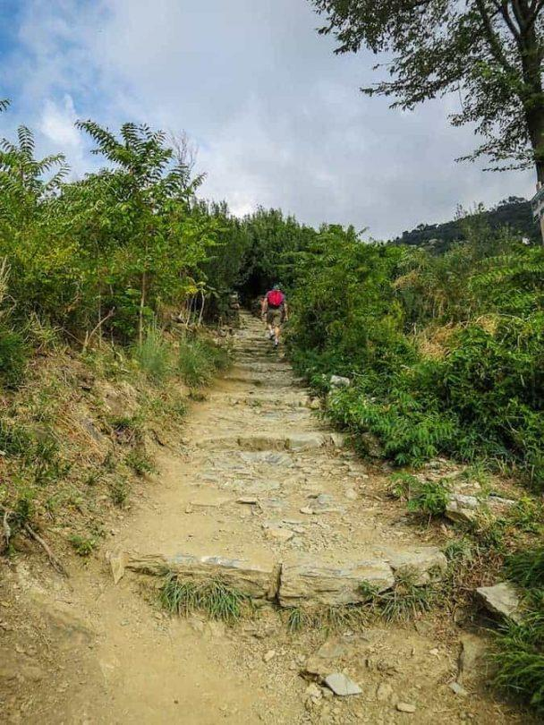 Walking uphill on the cinque terre trails