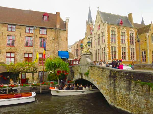 Taking a boat ride in Bruges