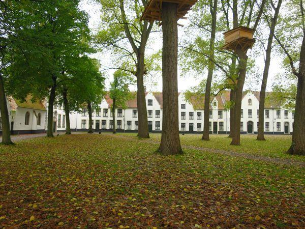 Tree houses in the monastic community in Bruges