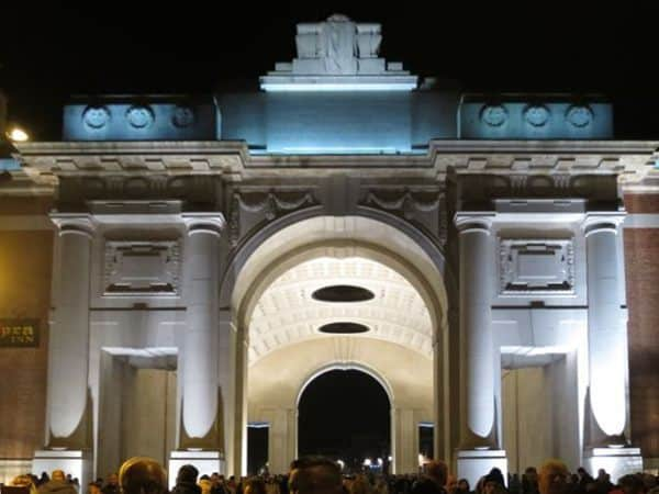 The Menin Gate at night Ieper Belgium
