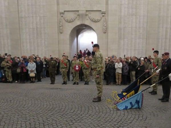 Soldier reciting The Ode at the Menin Gate