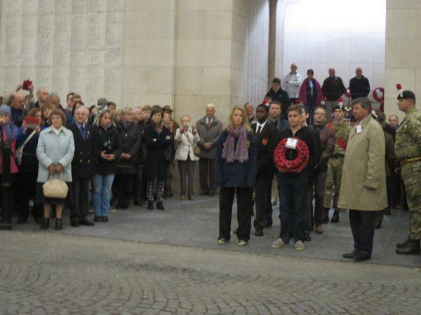 Groups waiting to lay a wreath for their soldier at the Menin Gate