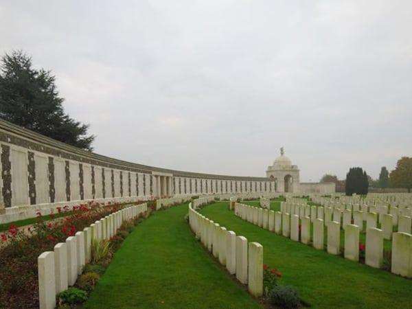 The main memorial wall at Tyne Cot