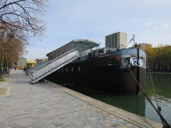 A converted barge - now a restaurant at Bassin de la Villette paris