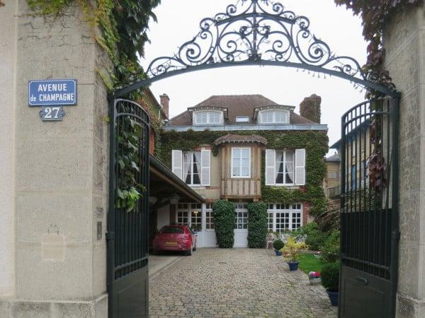 A common feature of the avenue are wrought iron gates Epernay