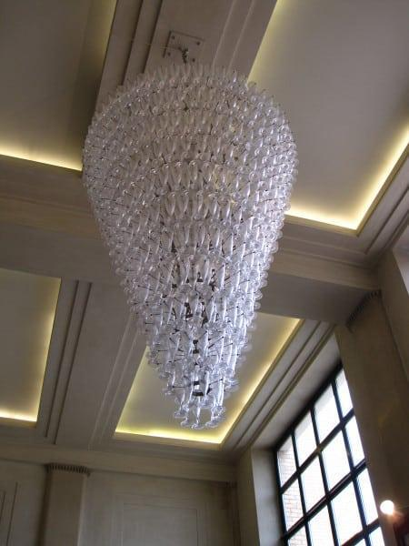 Amazing chandelier made from Moët and Chandon glasses