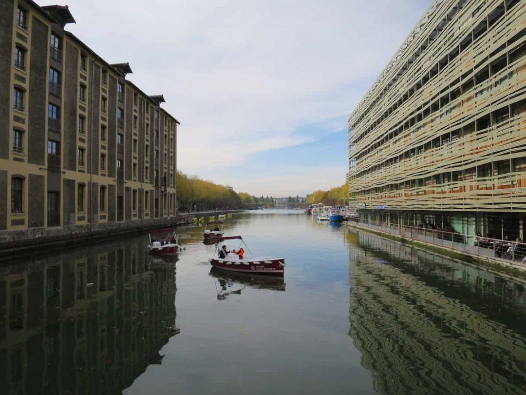 Beautiful reflections of the Bassin de la Villette an unsusual place in Paris