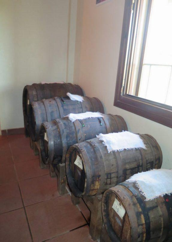 The five barrels of decreasing size used for ageing of the Modena Balsamic Vinegar