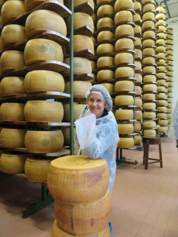 In the cheese vault on parmigiano reggiano cheese food tour in italy