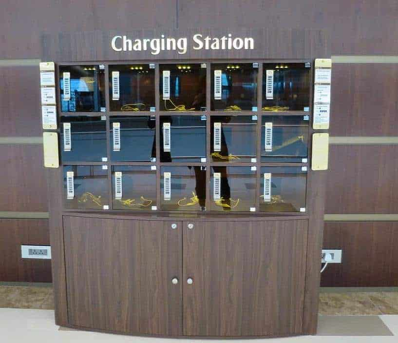 Charging station in the Emirates First Class Lounge