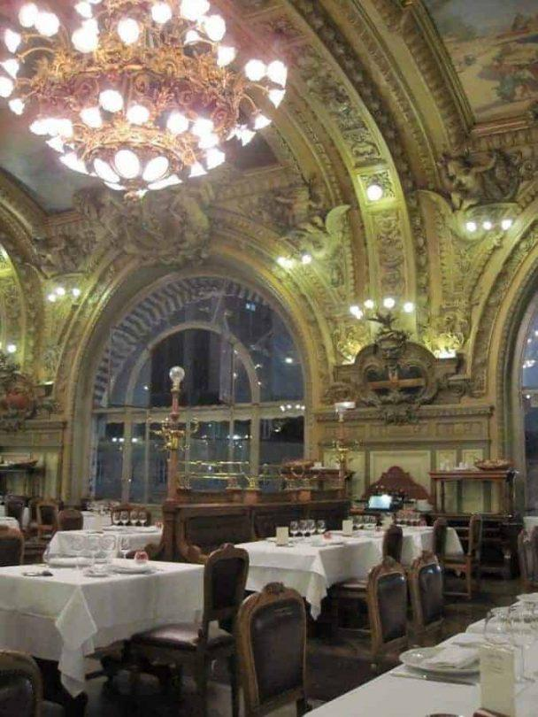 The beautifully decorated interior of Le Train Bleu