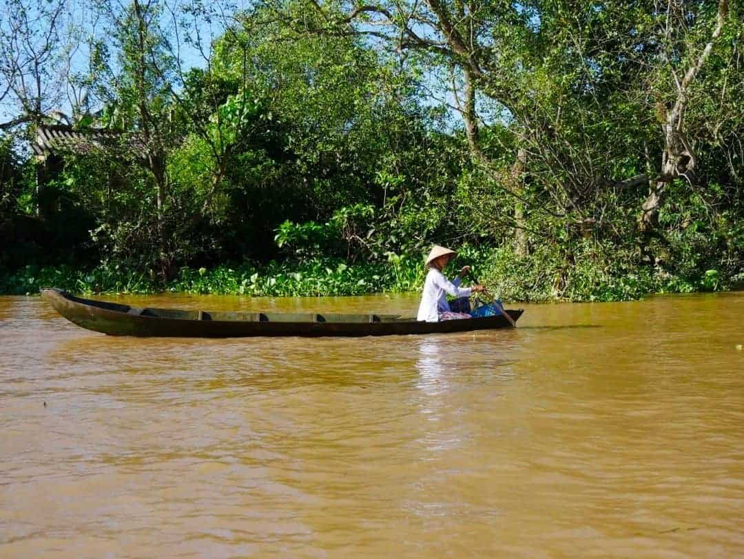 One of the many sampans on the river Mekong Delta