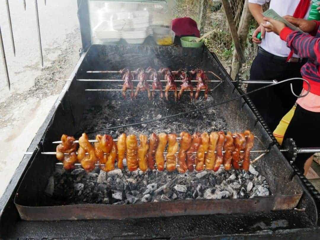 Street food : Quail and pig rectum