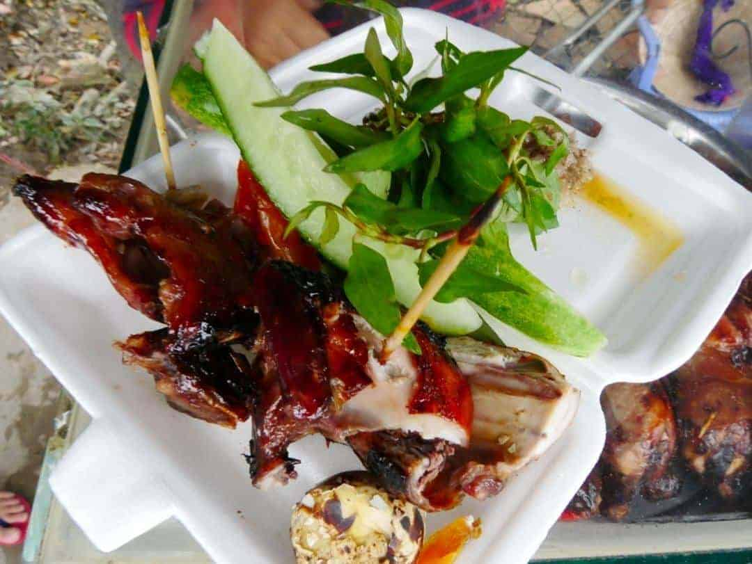 Street food : Quail and pig rectum