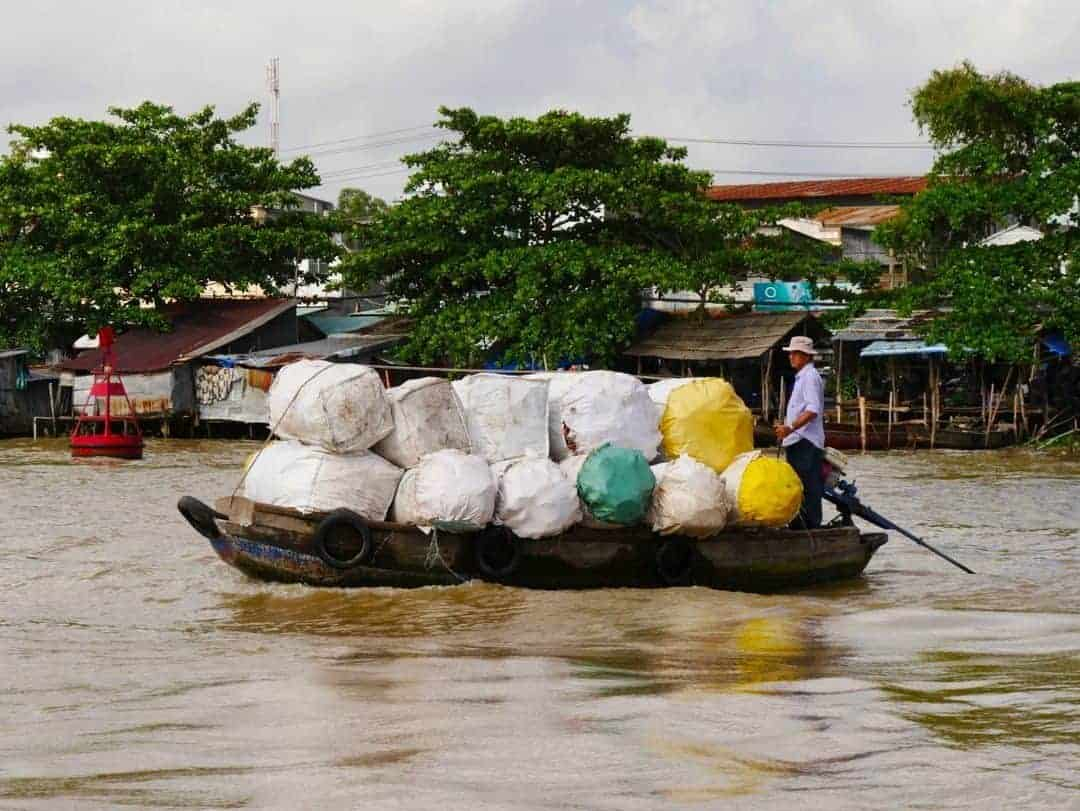 recycle-boat-mekong-river