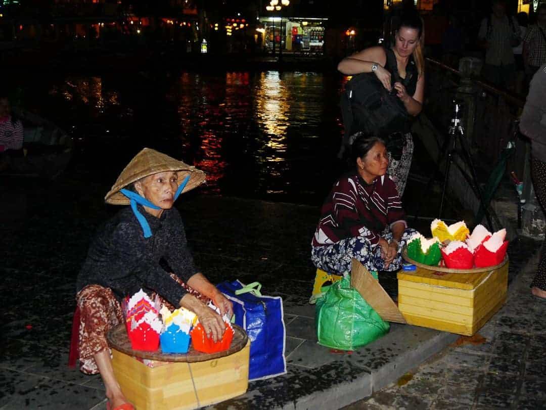 Vendors selling personal lanterns