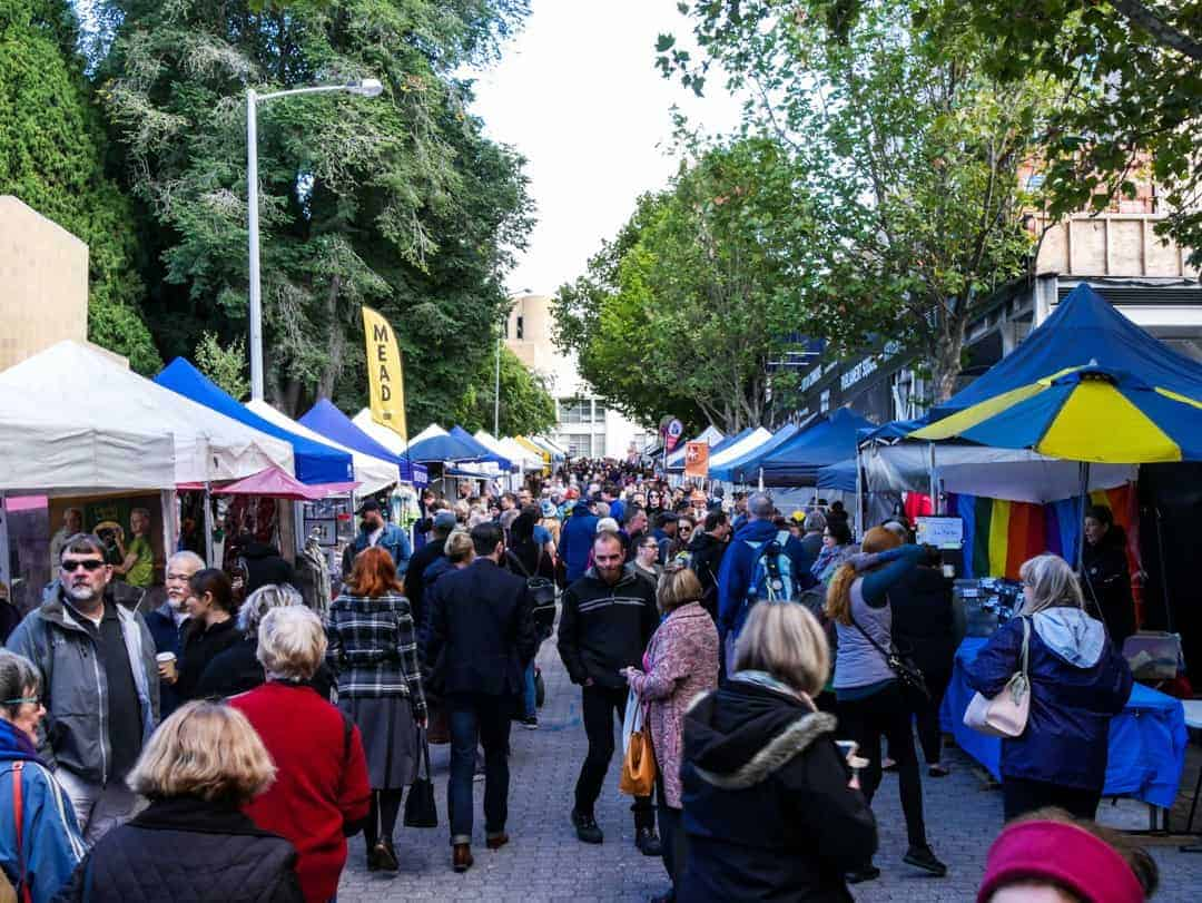 The crowds start to build early at the best markets in hobart