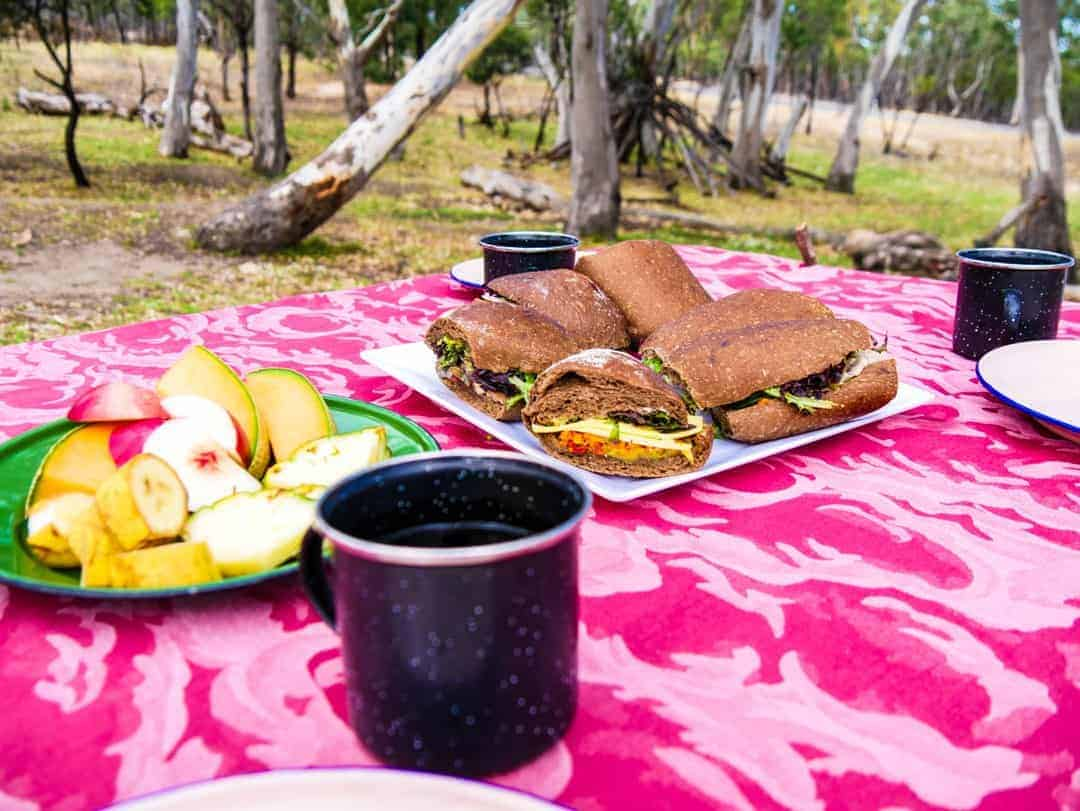 Enjoying a billy tea lunch in the bush - best tour to see wild koalas and kangaroos in melbourne