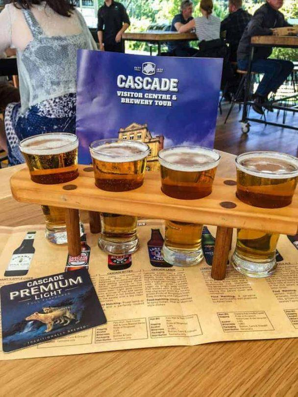 Beer flight as part of the tour at Cascade Brewery