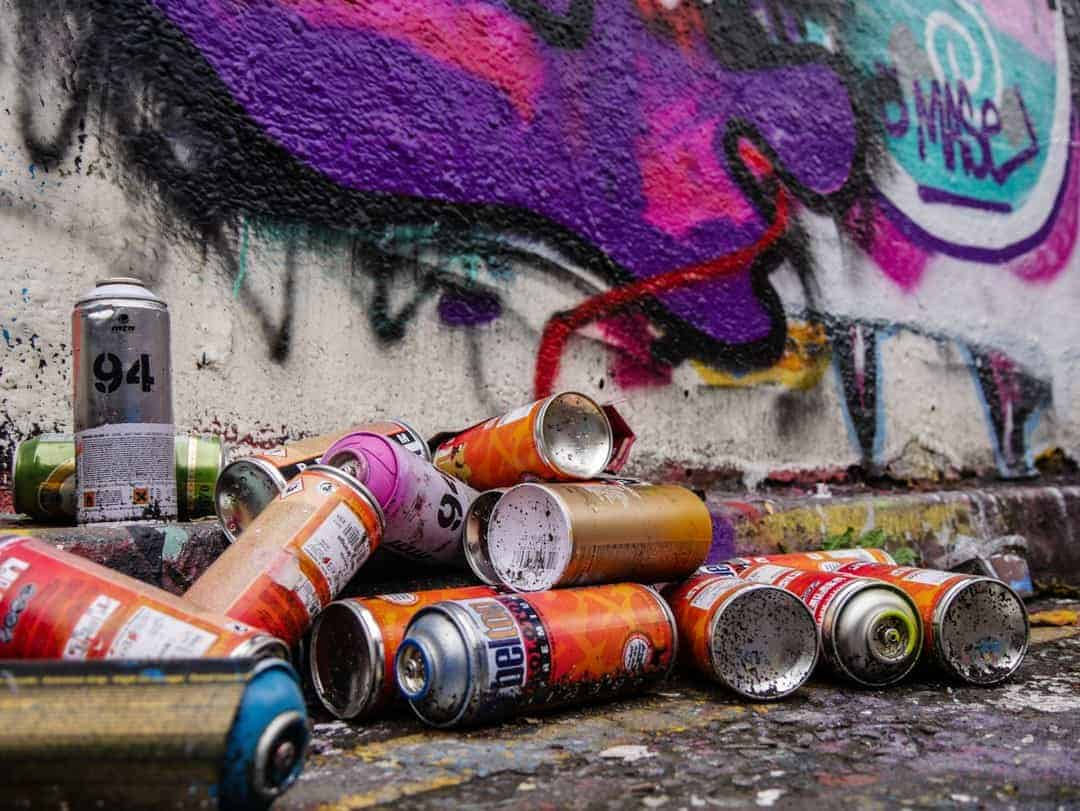 Painters cans in the Banksy tunnel