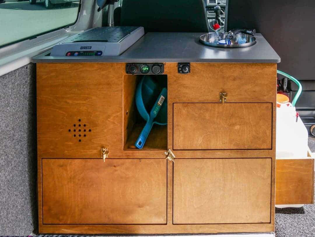 campervan Iceland review kitchen unit