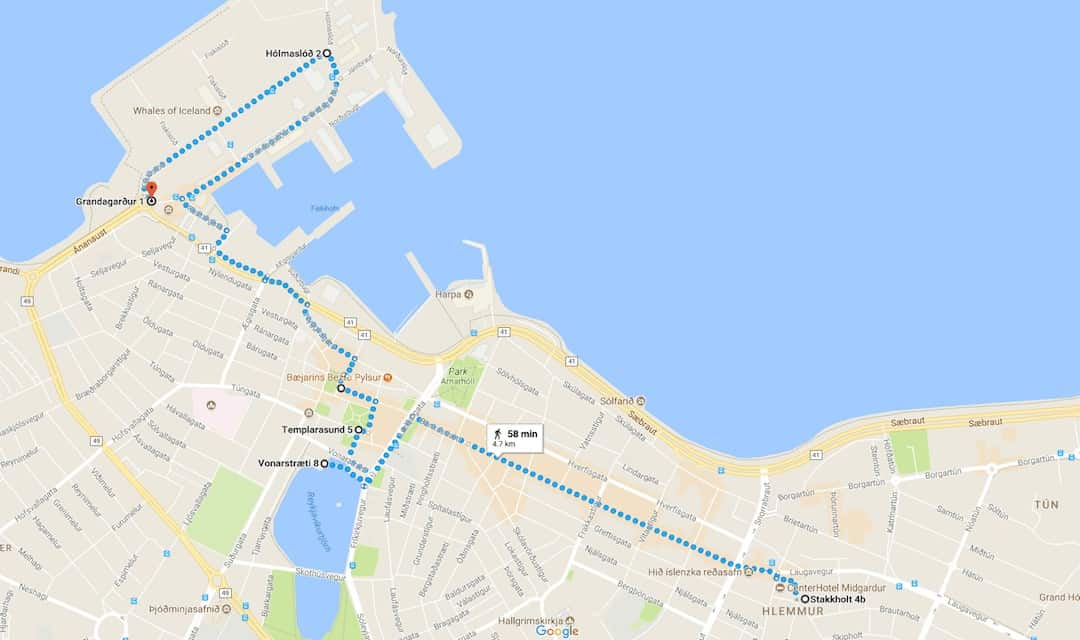self guided city walk reykjavik