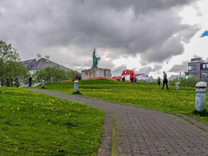 statue near culture house reykjavik