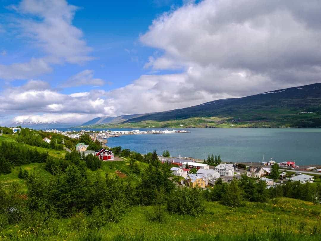 parked near this fjord in akureyri