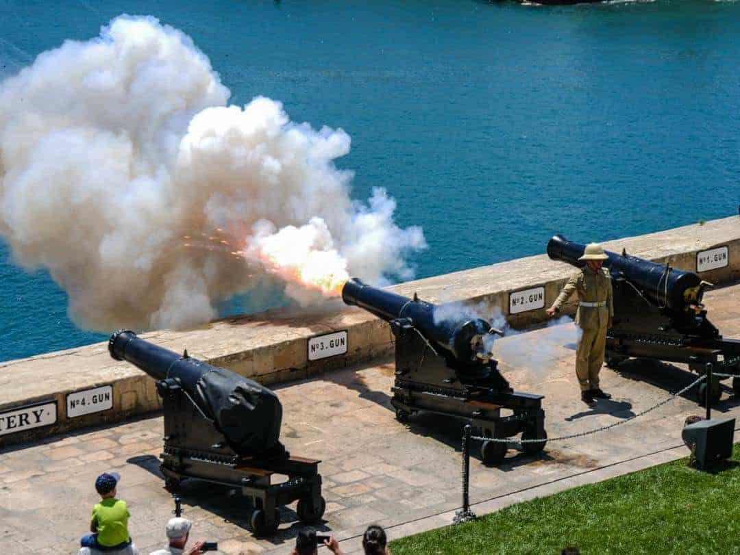 Midday gun salute Valetta Malta