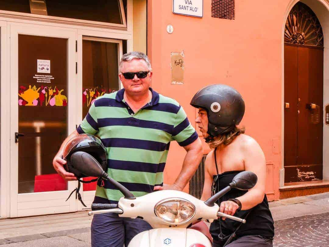 Vintage Vespa Food and Wine Tour Bologna Italy getting instruction