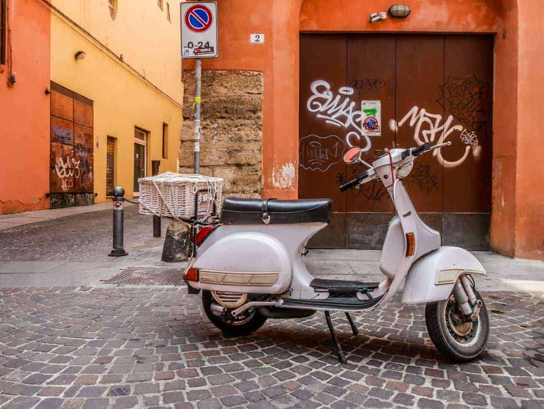 Vintage Vespa Food and Wine Tour Bologna Italy in courtyard