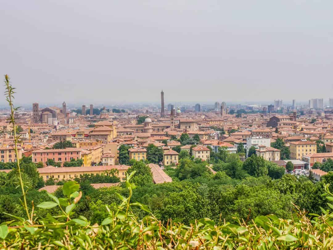 Vintage Vespa Food and Wine Tour Bologna Italy view from San Michele of bosco church