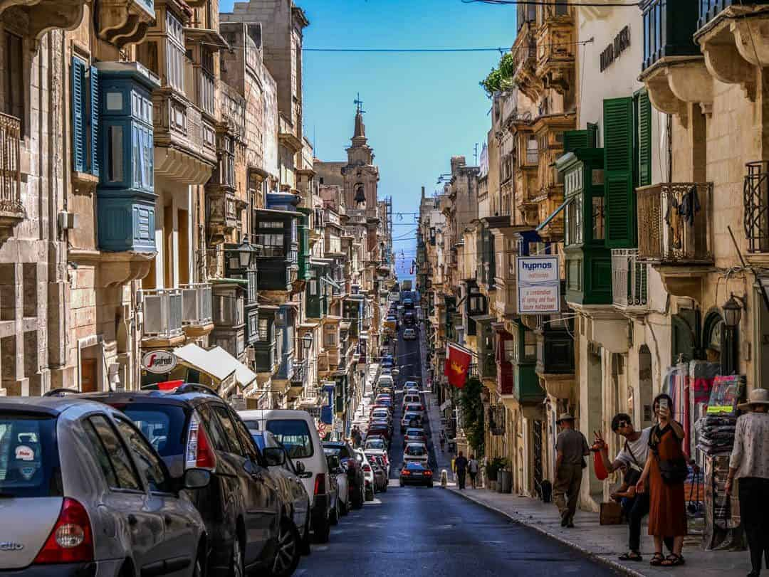 a typical street scape in valetta malta