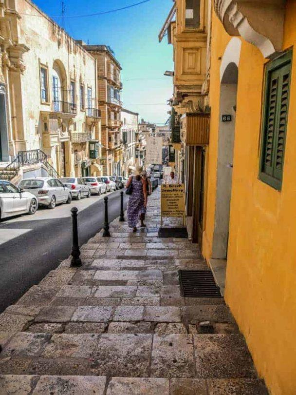 old stone steps in Valetta Malta