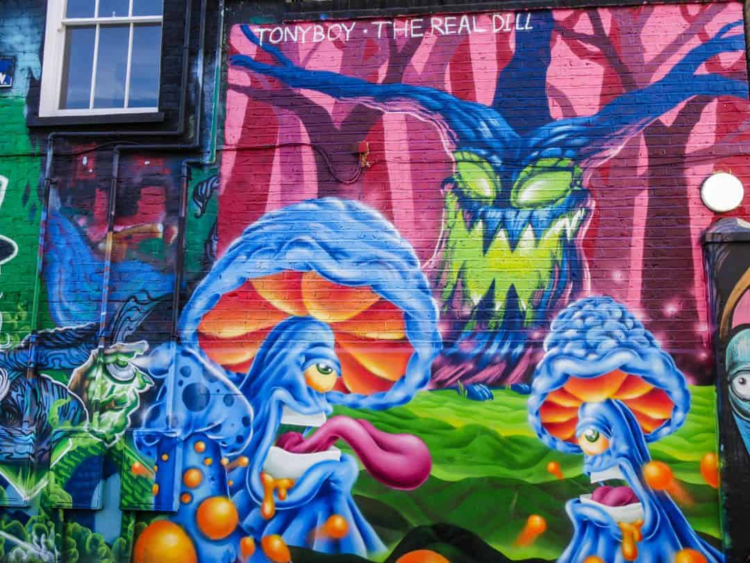 bright street art in camden