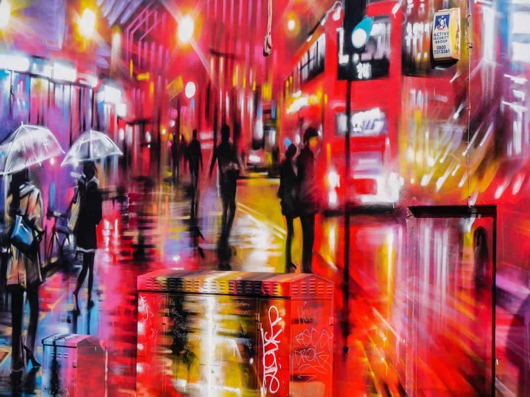 rainsoaked street art camden