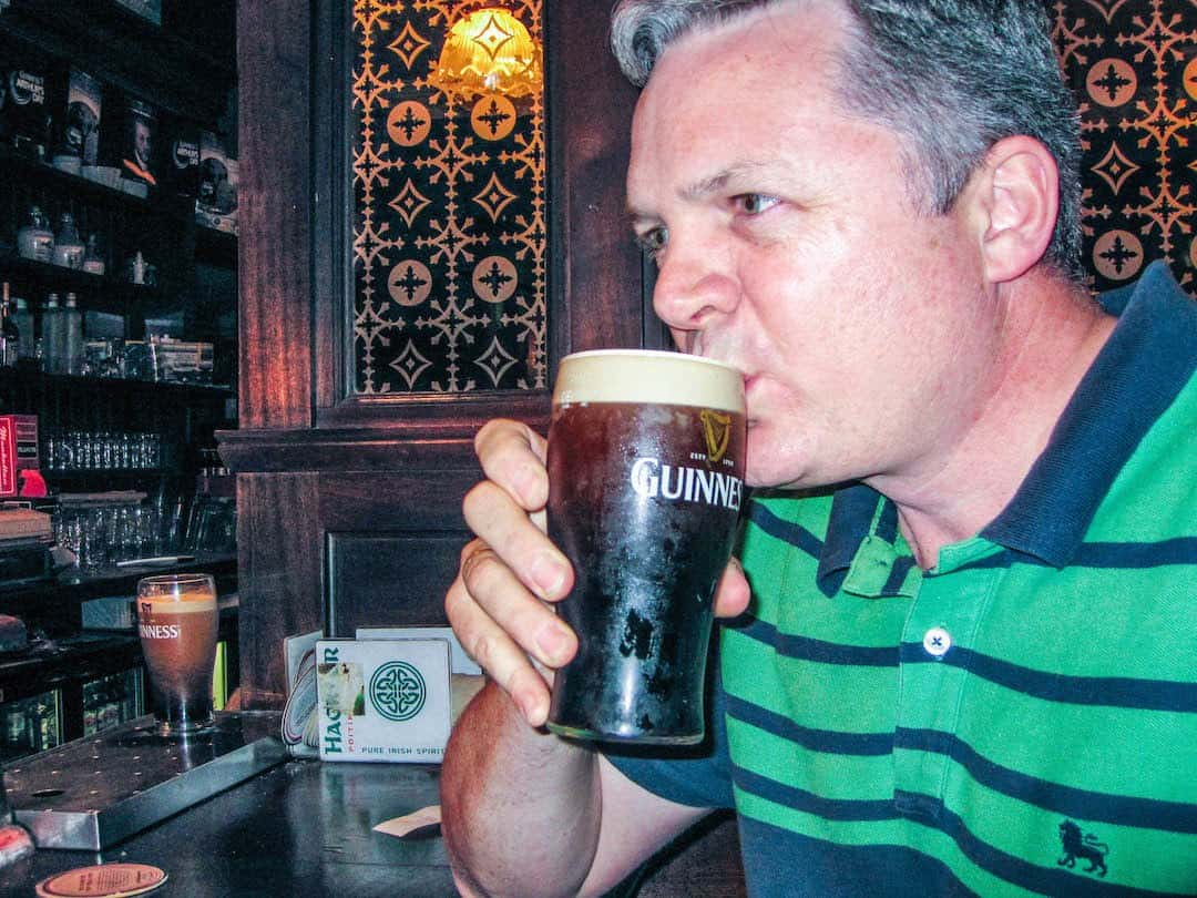 Drinking Guinness is best in Ireland.