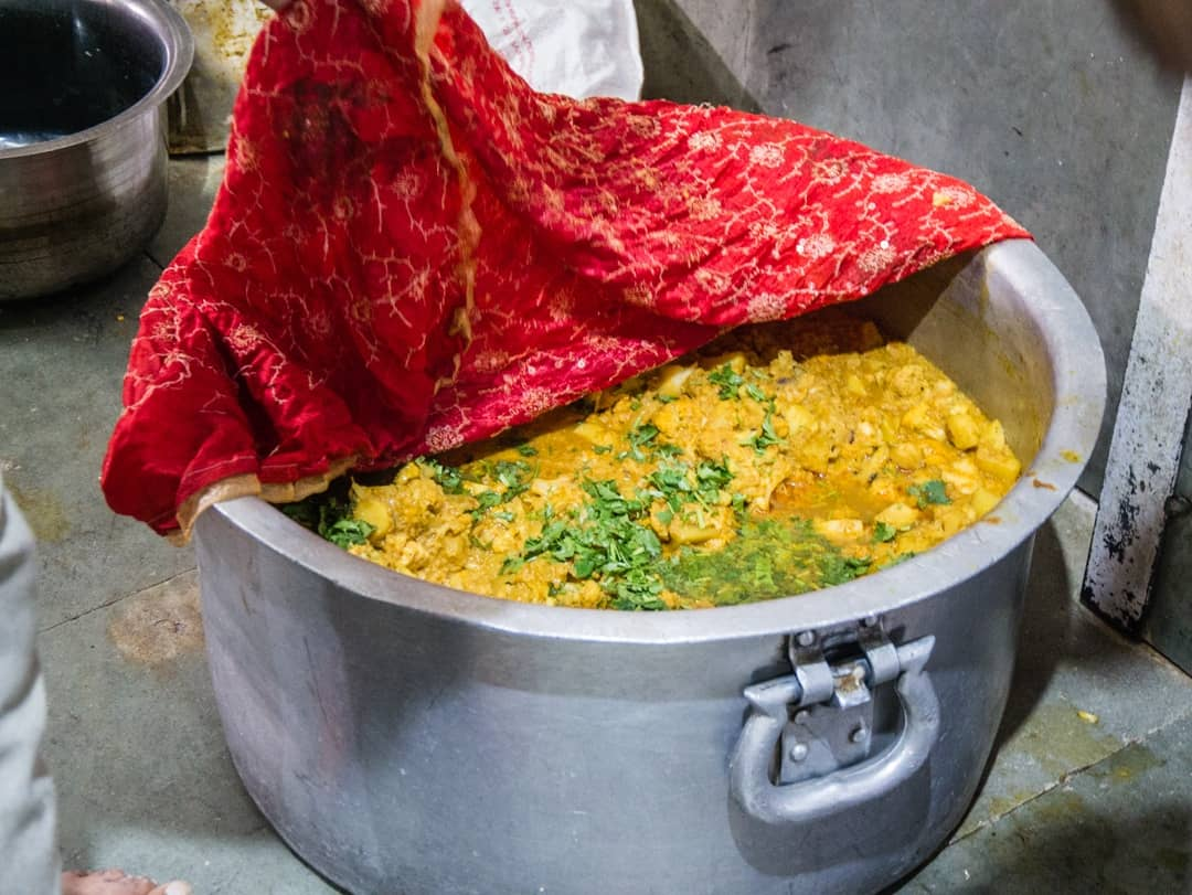 big pots cooked up in the sikh kitchen