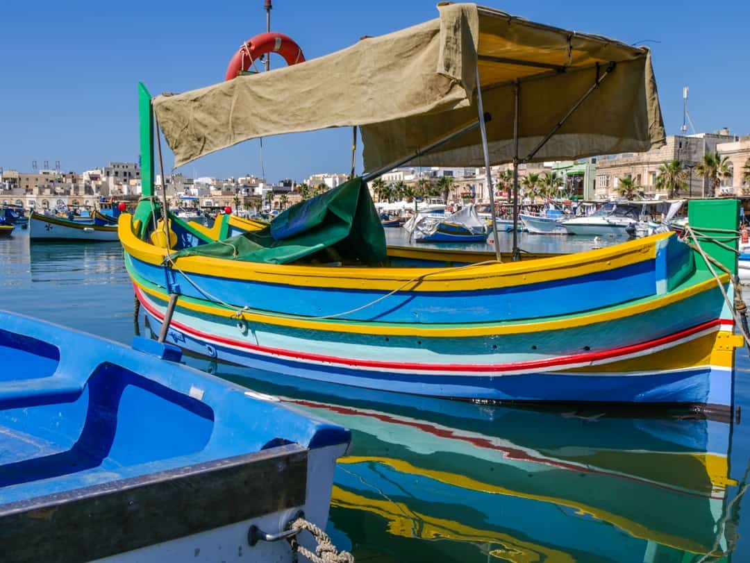 colouful fishing boats in marsaxlokk