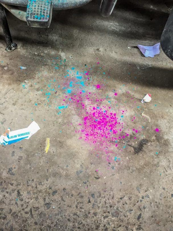 evidence of colour throwing