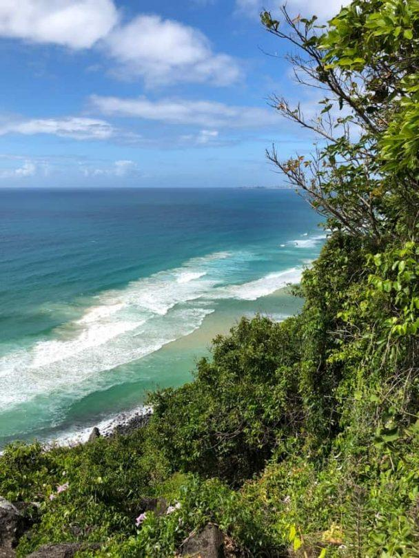 the view from the top of the hill at burleigh