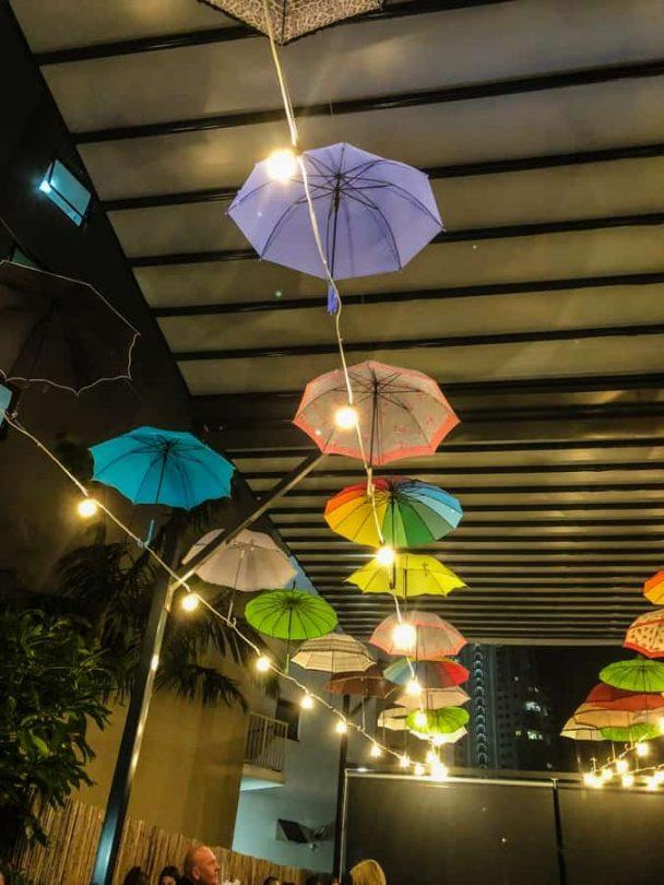 umbrellas at hideaway broadbeach cafes