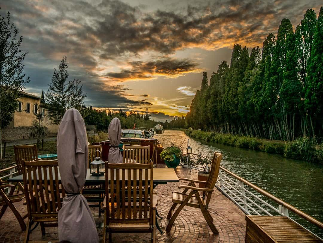 Savannah Barge Canal du Midi France watch the sun go down